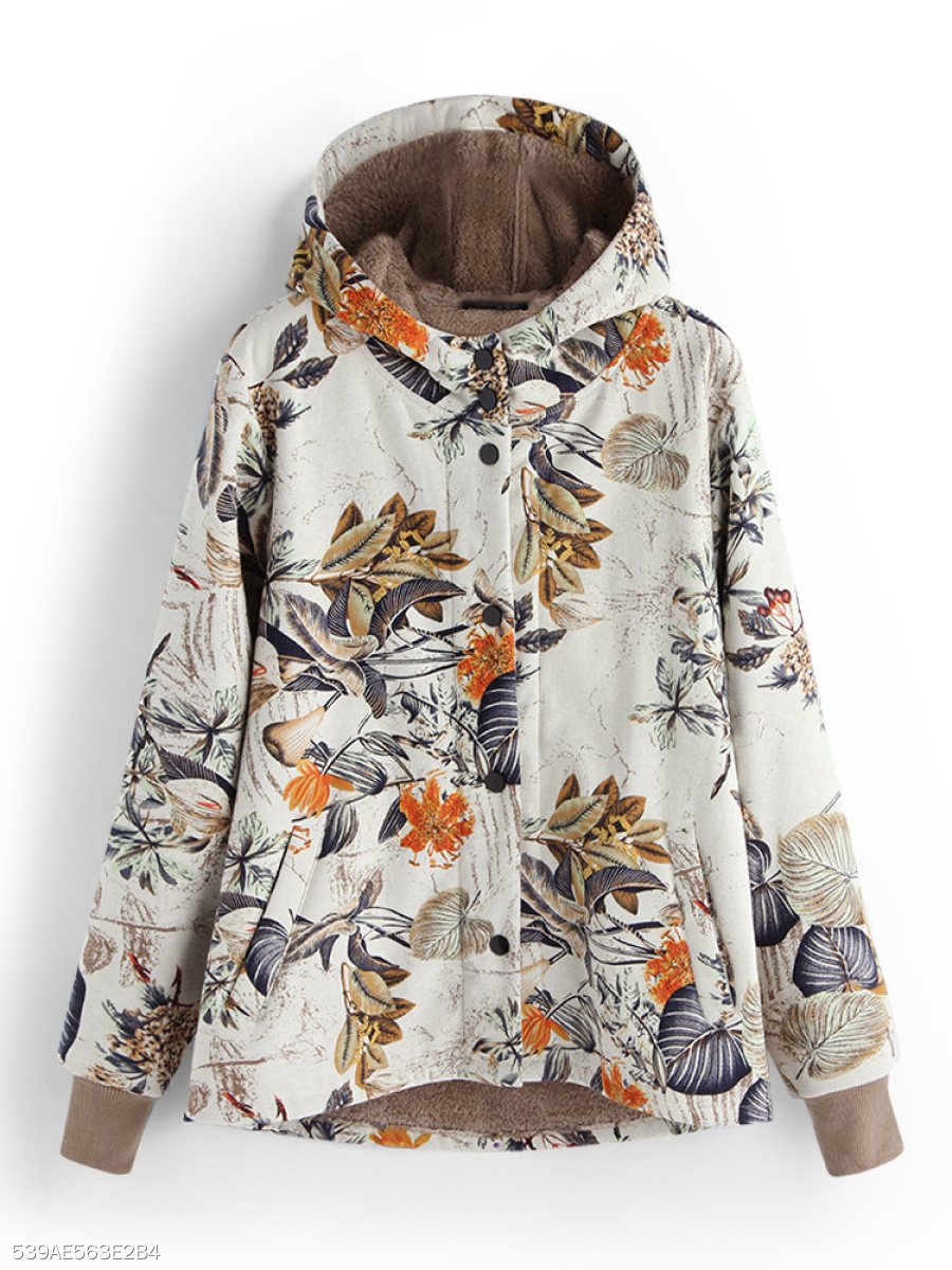 Hooded  Single Breasted  Printed  Long Sleeve Coats