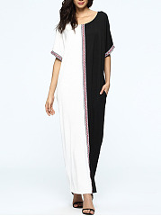 Round Neck  Patchwork  Color Block  Polyester Maxi Dress