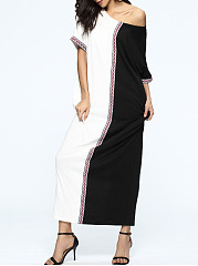 ... Round Neck Patchwork Color Block Polyester Maxi Dress ...