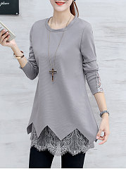 Autumn Spring  Cotton  Women  Round Neck  Asymmetric Hem Decorative Lace  Plain  Long Sleeve Blouses