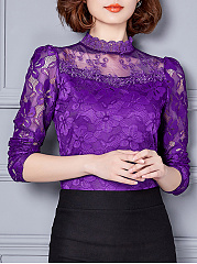 Band-Collar-Patchwork-Lace-Plain-Long-Sleeve-T-Shirt