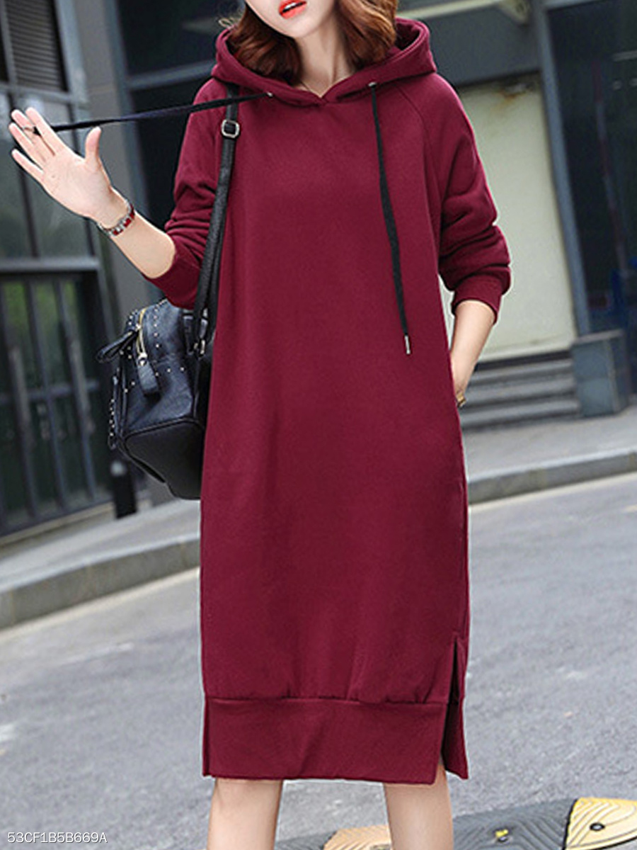 Hooded  Side Slit  Plain Shift Dress