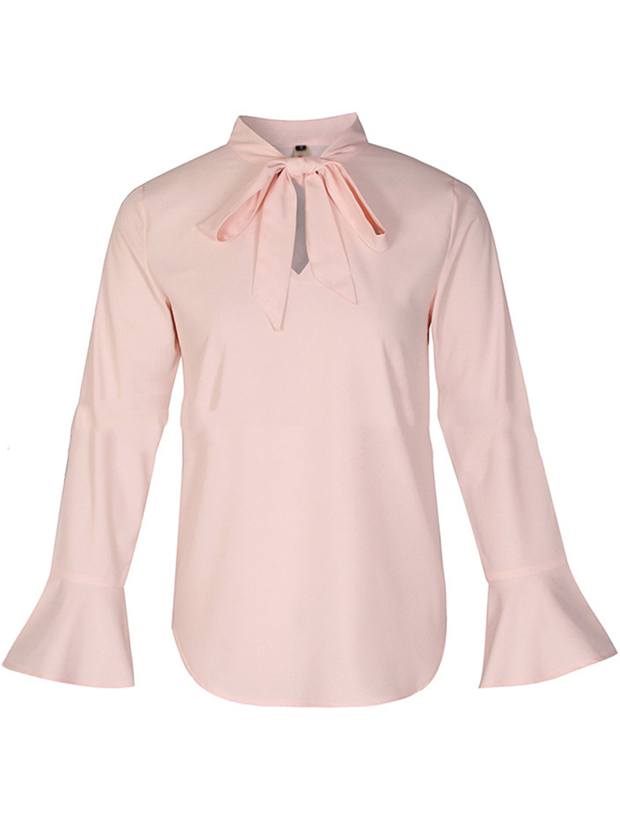 Tie Collar Plain Chiffon Bell Sleeve T-Shirt