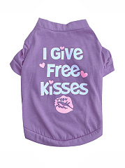 Free Kiss Letters Printed Dog Shirt