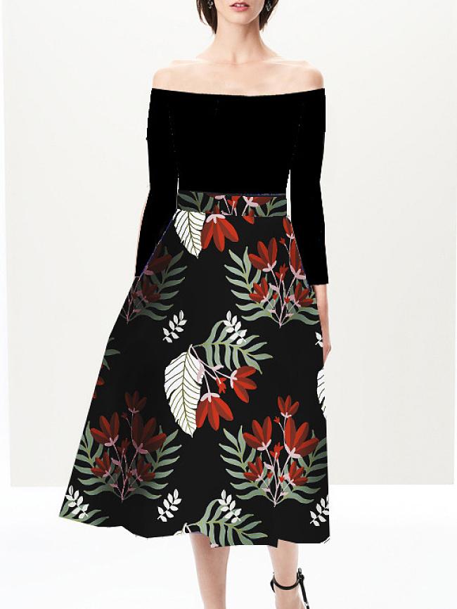 Fashionmia Open Shoulder  Floral Printed Skater Dress