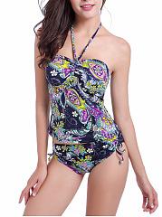 Halter-Drawstring-Printed-Swimwear