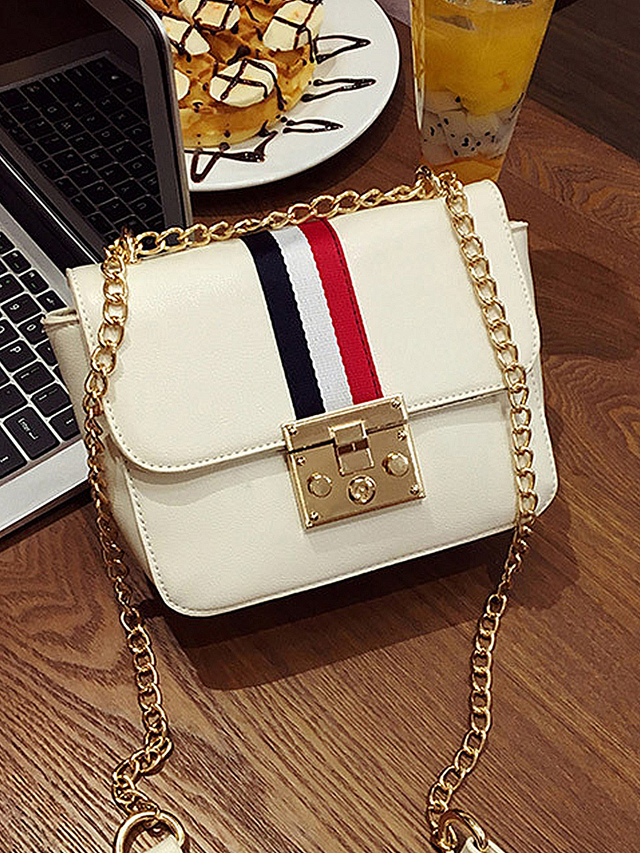 PU Color Block Chain Shoulder Bags