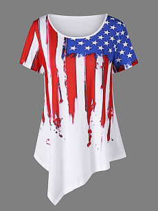 Summer  Cotton  Women  Round Neck  Asymmetric Hem  Printed Star Short Sleeve T-Shirts
