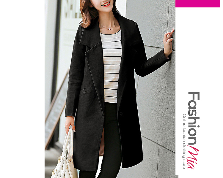 gender:women, hooded:no, thickness:thick, brand_name:fashionmia, style:fashion, material:woolen, collar&neckline:lapel, sleeve:long sleeve, embellishment:slit pocket, more_details:single button, pattern_type:plain, occasion:office,vacation, season:winter, package_included:top*1, lengthshouldersleeve lengthbust