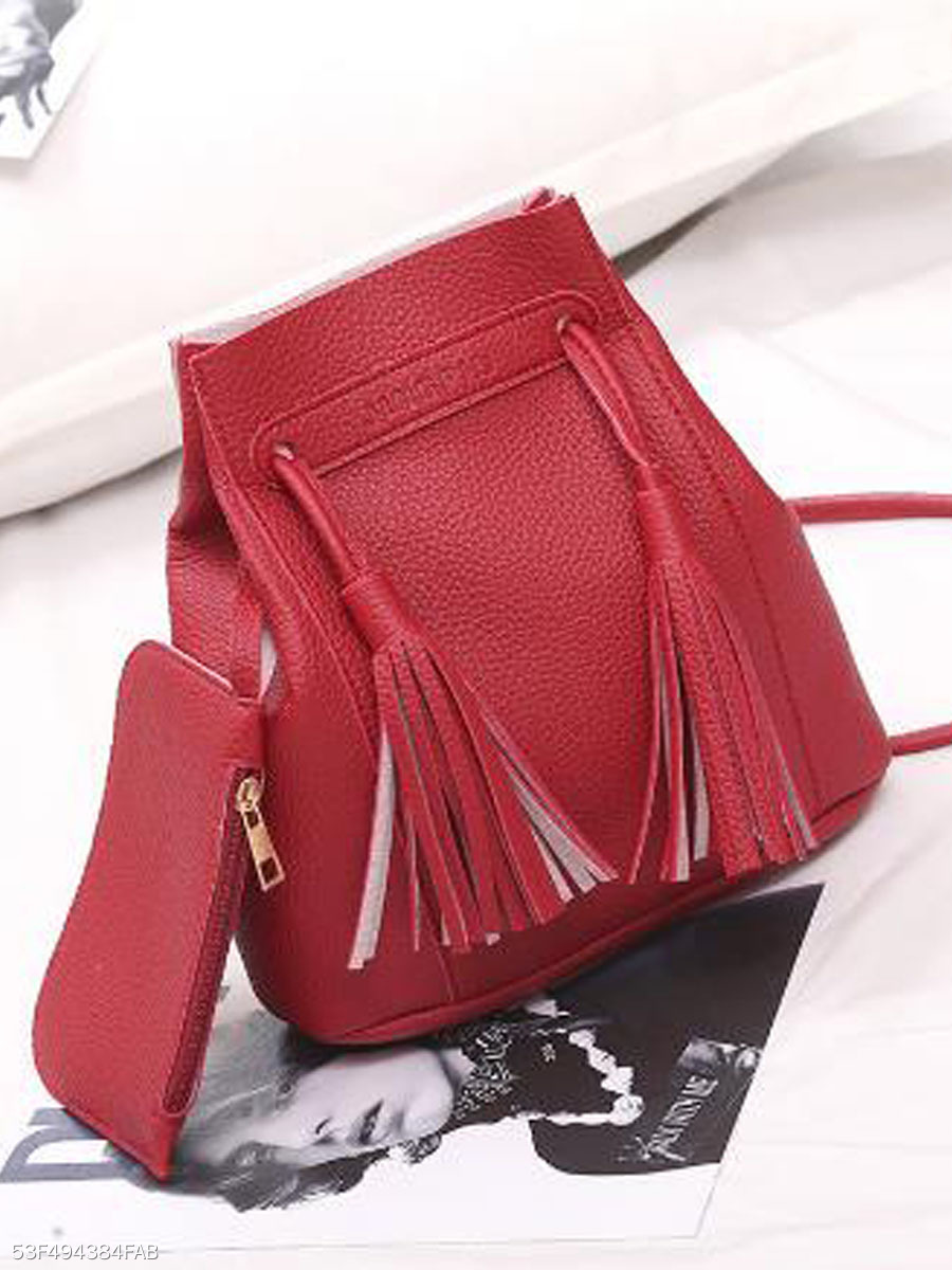Elegant Chic  Plain Tassel  Fringe Crossbody Bag ( Two Pieces )