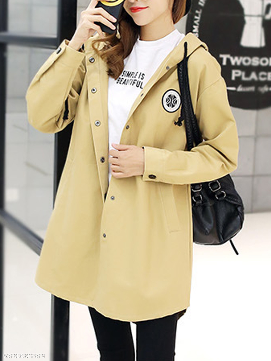 Hooded  Decorative Hardware  Letters  Long Sleeve Trench Coats