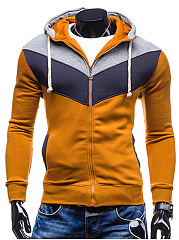 Color Block Hooded Drawstring Pocket Men Coat