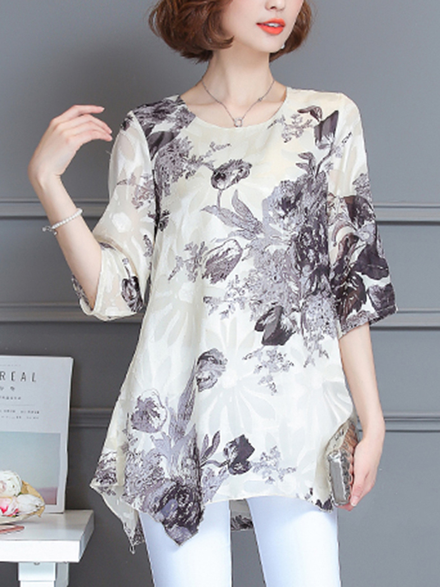 Round Neck  Asymmetric Hem  Printed Blouse
