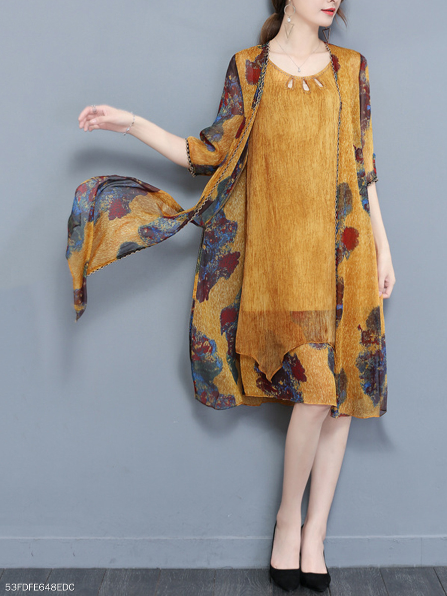 Round Neck Printed Cutout Chiffon Two-Piece Cardigan Is Not Split Maxi Dress
