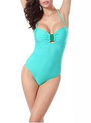 Solid Halter  Back Hole One Piece