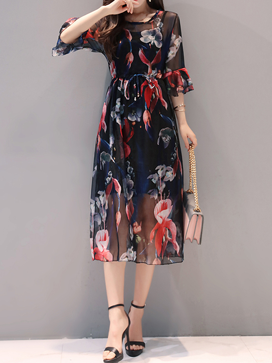 Drawstring Hollow Out Printed Two-Piece Maxi Dress