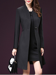 V Neck  Single Button  Plain Trench Coat