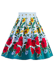 Inverted-Pleat-Floral-Flared-Midi-Skirt
