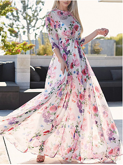 Spring Summer Round Neck  Printed Maxi Dress