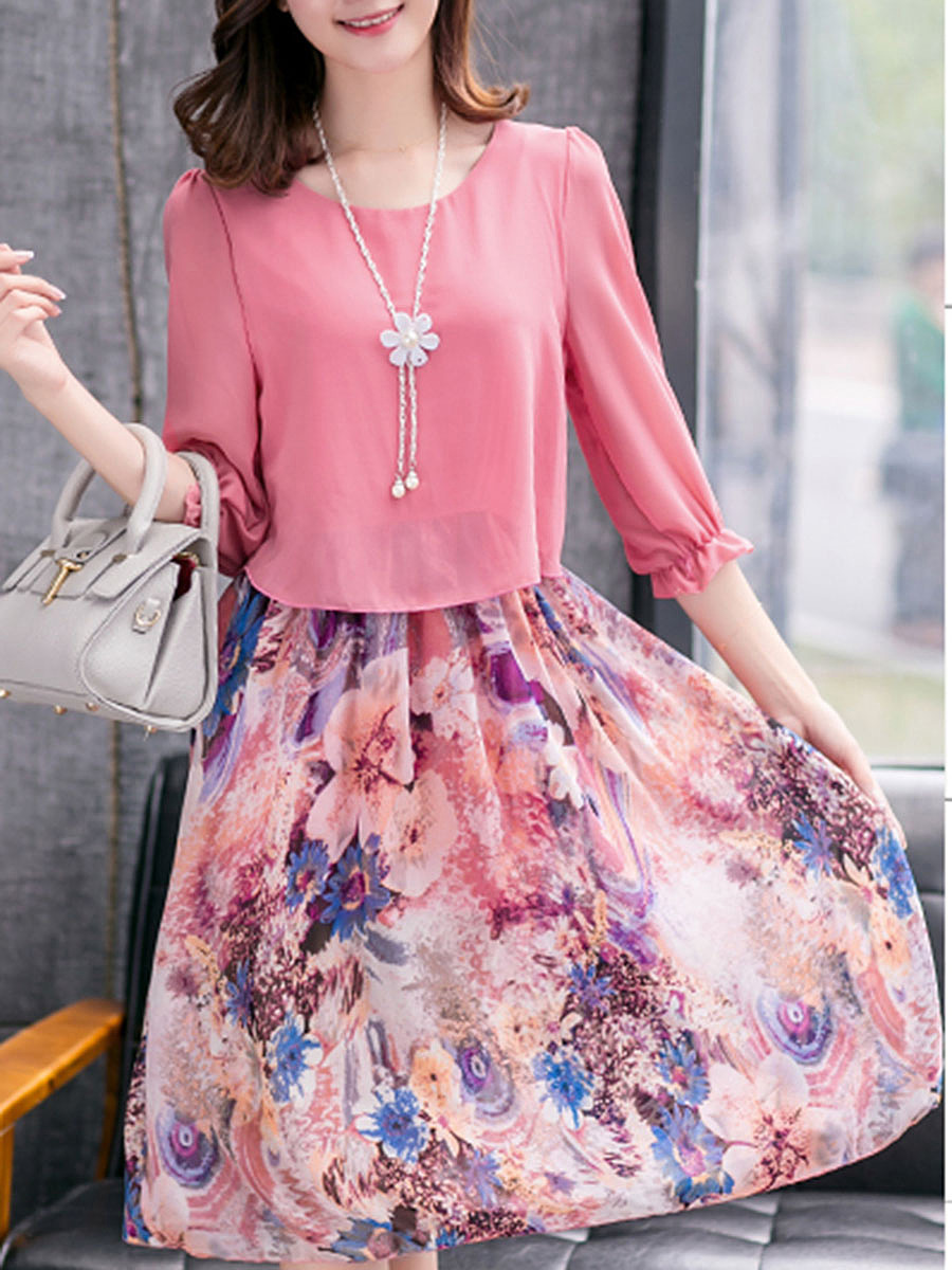 Delightful Printed Chiffon Shift Dress