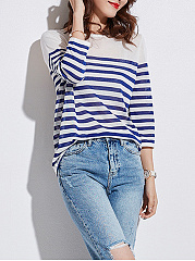 Striped  Three-Quarter Sleeve Sweaters Pullover