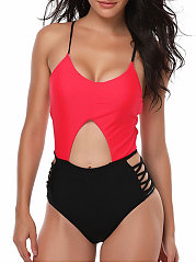 Lightweight  High Stretch  Color Block One Piece For Women