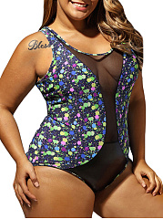 Patchwork See-Through Printed Plus Size Swimwear