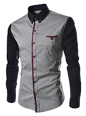Color-Block-Button-Down-Collar-Patch-Pocket-Men-Shirts