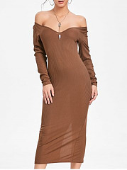 Off Shoulder  Plain  Cotton Blend Maxi Dress