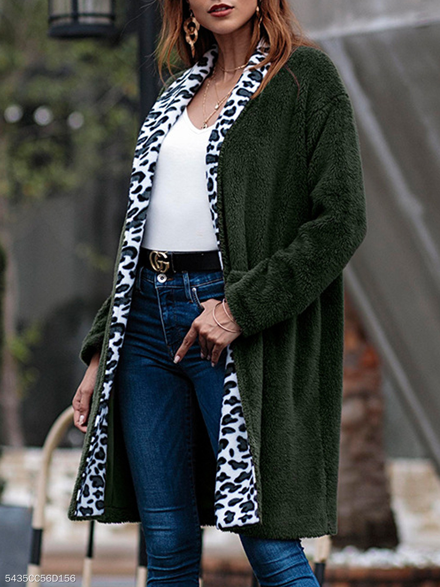 Fold-Over Collar  Slit Pocket  Leopard Plain  Long Sleeve Coats