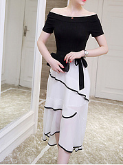 Open Shoulder  Contrast Trim Patchwork  Color Block Maxi Dress