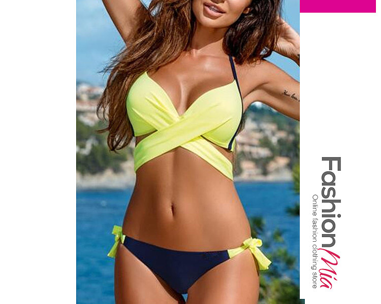 Image of 2018 Sexy Bikini Women Swimsuit Push Up Swimwear Criss Cross Bandage Halter Bikini