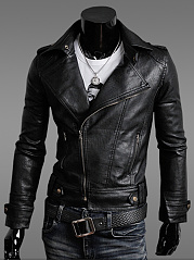 Men-Lapel-Zips-Plain-PU-Leather-Biker-Jacket