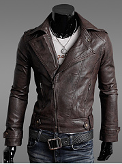 Men Lapel Zips Plain PU Leather Biker Jacket