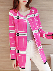Round Neck  Contrast Piping  Color Block  Long Sleeve Coats