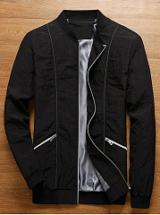 Band Collar Zips Pocket Men Jacket
