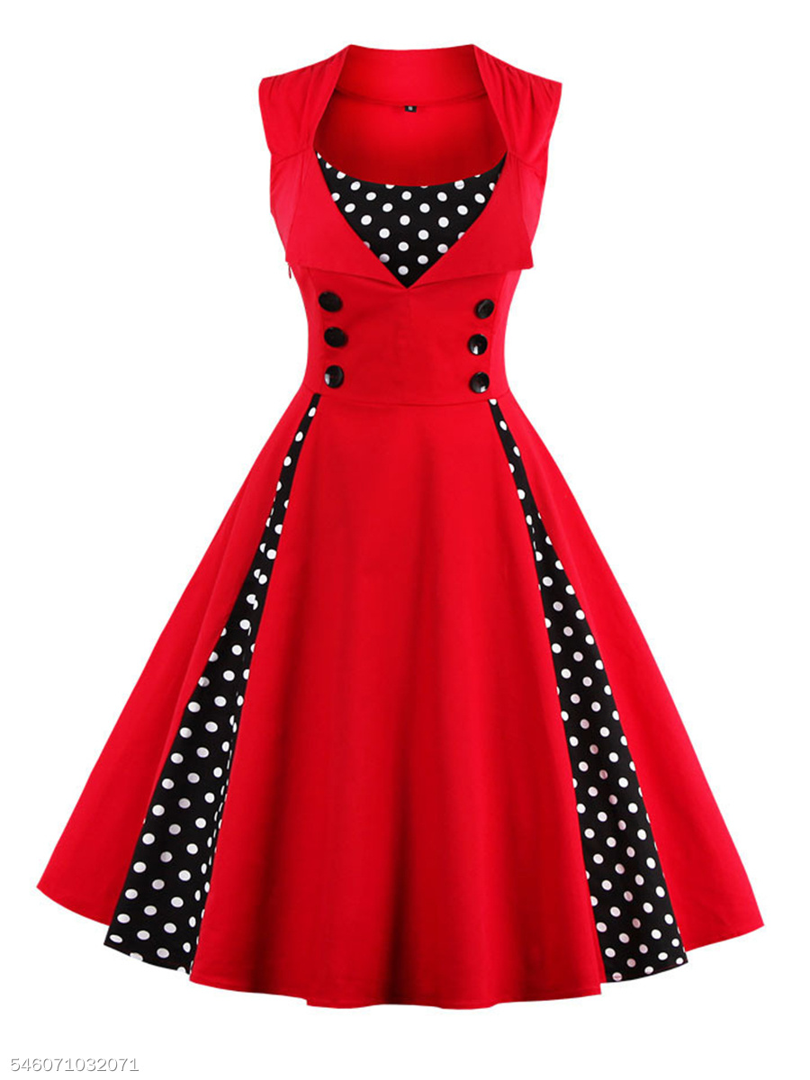0a9da02a011c1 A Line Polka Dot With Cotton Lapel Plus Size Dress - fashionMia.com
