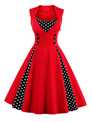 A Line Polka Dot With Cotton Lapel Plus Size Dress