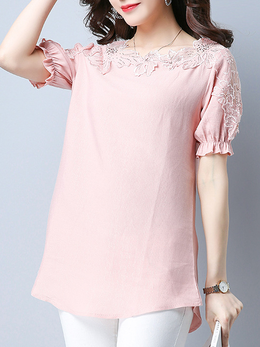 Delightful Decorative Lace Plain Short Sleeve T-Shirt