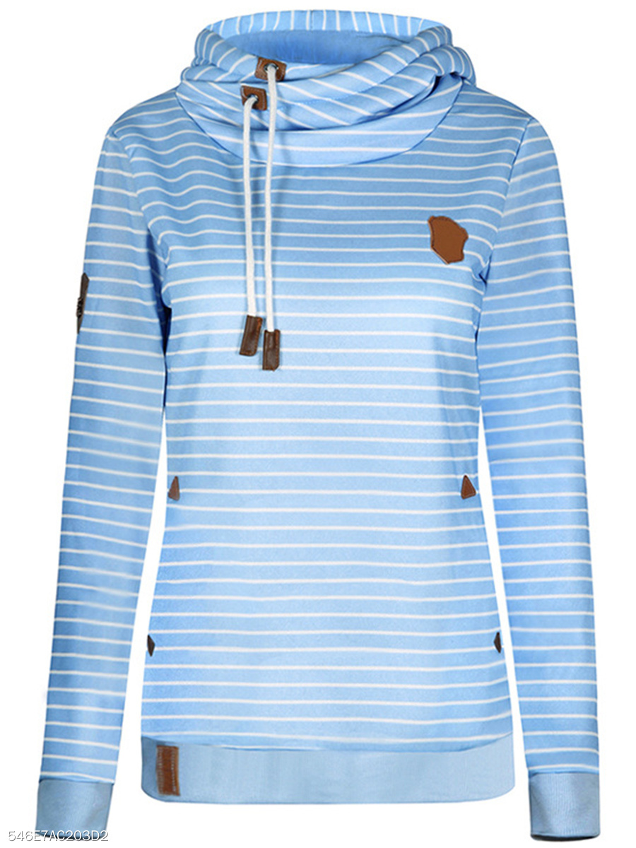 Cowl Neck Striped Pocket Hoodie
