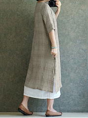 Long Sleeve Round Neck Plain Cotton/Linen Maxi Dress