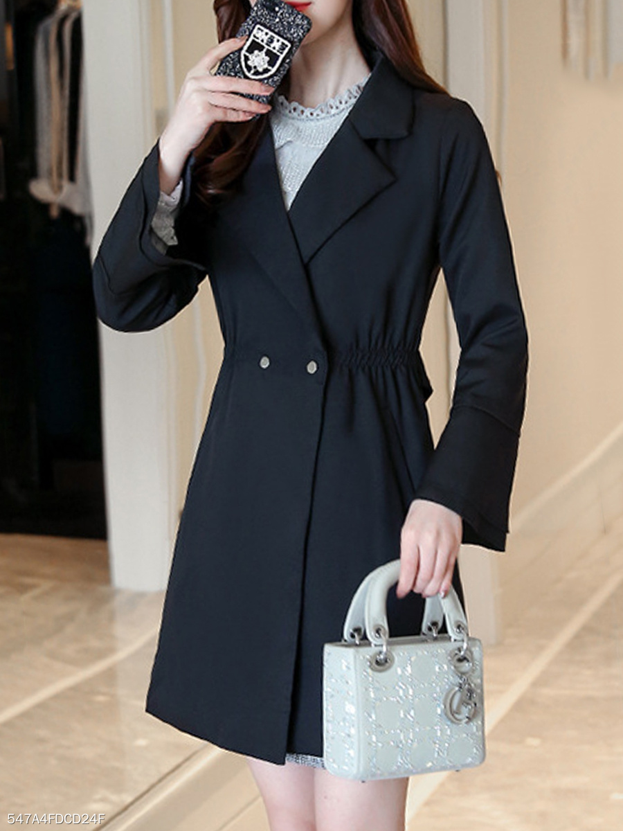 Notch Lapel  Elastic Waist  Plain Trench Coat