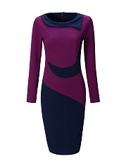 Round Neck Slit Color Block Bodycon Dress