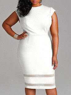 Round Neck  Patchwork  Plain Plus Size Bodycon Dress