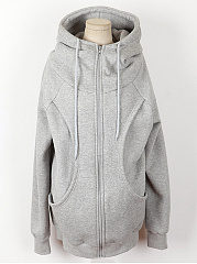High Neck Pocket Plain Hoodie