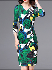 Surplice  Abstract Print Bodycon Dress
