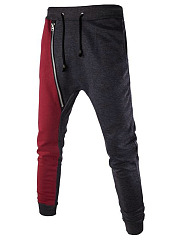 Elastic Waist Zips  Color Block  Slim-Leg Men's Casual Pants