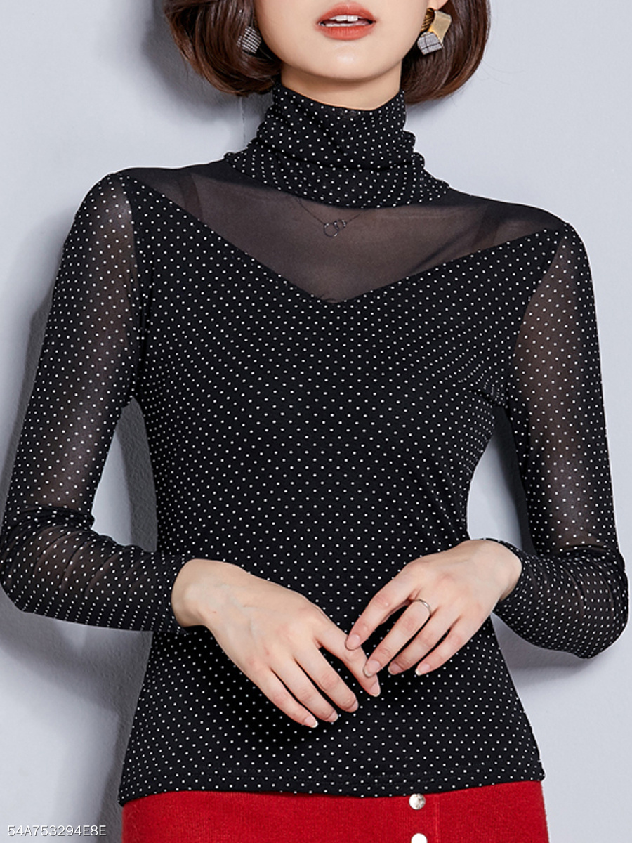 Autumn Spring  Mesh  Women  High Neck  See-Through  Polka Dot Long Sleeve T-Shirts