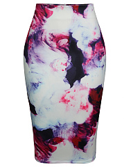 Abstract Print Pencil High-Waist Midi Skirt