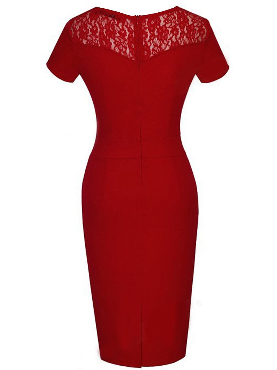 Square Neck  Plain Lady Bodycon Dress